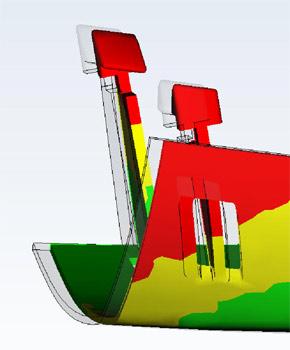 Verzug durch uneinheitliche Schwindung -> ungeeignetes Wandstärken-Verhältnis